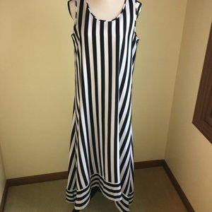 Chico Black/White Hi-Low Striped Maxi Dress